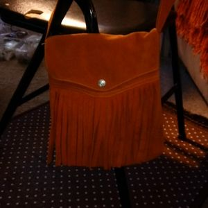 Orangish Seude Crossbody bag